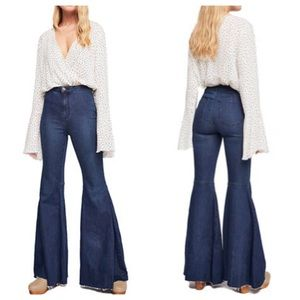 Free People High Rise Float On Flare Wide Leg Jean